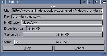 AmiPodder edit podcast window